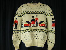 SIMONS QUEBEC Vtg Cream Wool Couple & Houses Pullover Sweater-Bust 37/XS-S