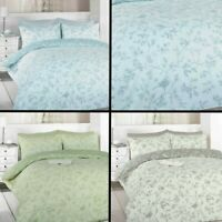 BIRDS PARIS CHIC FLORAL REVERSIBLE QUILT DUVET COVER BEDDING SET & PILLOW CASE