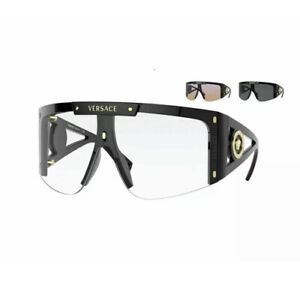 Versace MEDUSA ICON VE 4393 Black/Clear Pink+Grey Extra Lens GB11W Sunglasses