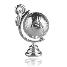 World Globe Charm Sterling Silver .925 Rotates CMTVWD01
