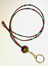 Handcrafted Beaded Lanyard, Green, Red, Blue, Black, Glass beads, Lampwork Bead