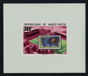 Upper Volta 460 proof sheet MNH World Cup Soccer, Stamp on Stamp, Stadium, Map