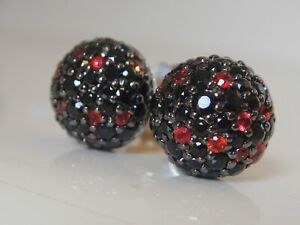 $1250 JOHN HARDY , SS BLACK and RED SAPPHIRE EARRINGS