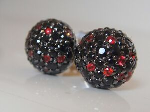 $1250 JOHN HARDY ,STERLING BLACK and RED SAPPHIRE EARRINGS