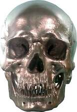 Human Skull Replica Life Size, Silver Metallic Chrome Color: Quality Made in USA