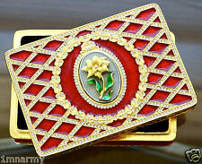 Faberge Red Enamel Guilloche' Rectangular Box with Flower, Crystal Accents Rare