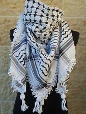 Original Kufiya White & Black Original Arab Scarf Palestinian Shemagh Brand New