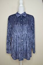 vintage BHS velvet animal print marbled button up shirt blouse lavender size 12