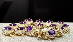 Diamond & 9.0 CTW  Natural Amethyst Bracelet 7.5 inch