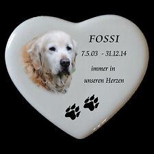 Grabbild Grabstein Tiergrabbild Porzellan Herz Hund-p12►mit Ihrem Foto◄12x10,5cm