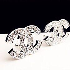 Full Crystal Rhinestone Brooches Silver Earrings Pin Brooch Cc Style