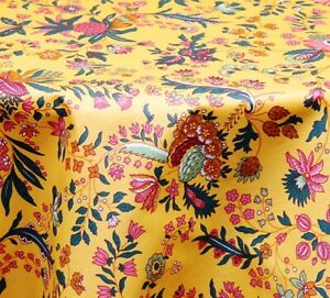 """LE CLUNY, VERSAILLES PROVENCE YELLOW FRENCH COATED COTTON TABLECLOTH, 60"""" x 96"""""""