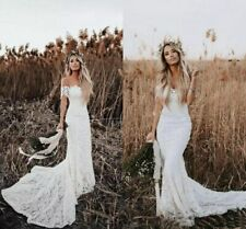 Boho Mermaid Wedding Dresses White Off Shoulder Lace Bridal Gowns Sweep Train