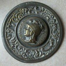 """Antique Minerva Button w/ Dragon Helmet - Has a Tin Back 2"""" Greek Mythology"""