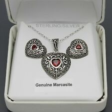 Sterling Silver Red CZ & Marcasite Filigree Heart Necklace & Earrings Set NWT