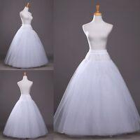 Long Full Length Tulle Petticoat Crinoline Underskirt Bridal Wedding Dress Slips