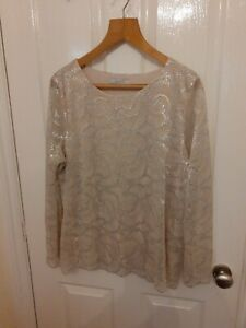 Per Una Silver And Nude Evening Top Size 20