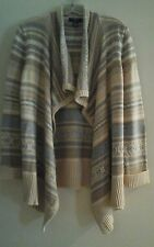 Chaps Women Petite Beige Multi Striped Draped Front Cardigan Sweater     Size PL