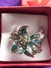 Gems Size L New In Gift Box Silver Metal Fashion Flower Ring With Turquoise