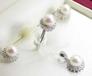 REAL Diamonds Pearls Set Pendant Ring Earrings White Gold FINE Jewellery Pearl