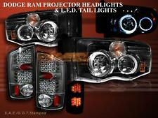 02 - 05 DODGE RAM 1500/2500/3500 HALO PROJECTOR HEADLIGHTS + LED TL BLACK