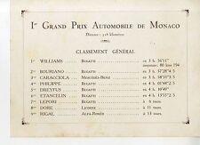 PHOTO ORIGINAL VINTAGE-GRAND PRIX AUTOMOBILES DE MONACO EN 1929-RESULTATS