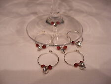 6 LOVE VALENTINES SILVER HEART WINE GLASS CHARM  DECORATION HOOPS ANY COLOUR