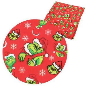 "Grinch Stole Christmas Dr Seuss 100% Cotton Fabric Material 16"" X 28"" masks"