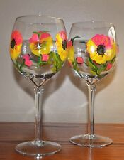 The Studio Shop ~ Susan Winget Handpainted 18oz. Wine Glass Pair ~ New in Box