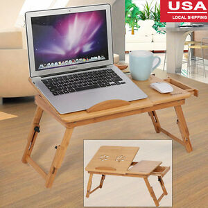 Portable Bamboo Laptop Desk Table Folding Breakfast Bed Serving Tray w/Drawer SP