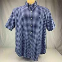 Ralph Lauren XL Plaid Custom Fit Button Up Shirt Mens  Short Sleeve Blue Nice