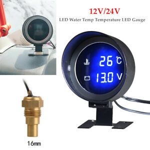 1PCS Black Car Auto Digital Blue LED Water Temp Temperature LED Gauge Kit