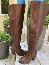 NEW Size 7 EXPRESS Brown Faux Leather OVER THE KNEE BOOTS 3 Inch Heels