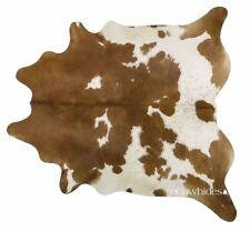 Brown and White Brazilian Cowhide Rug Cow Hide Area Rugs Skin Leather Size XL