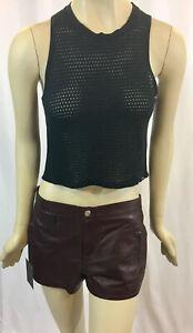 NWT Sz.7 Medium KORAL Genuine Leather Trouser Shorts Denim Maroon Burgundy