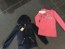 Neuf avec étiquettes Juicy Couture NEUF & AUTHENTIQUE en velours bleu à capuche & t-shirt rose filles 8 ans