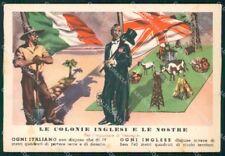 WW2 WWII Propaganda Fascismo Anti British PIEGHINA FG cartolina XF7126
