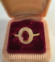 Vintage Jewellery Gold Ring Ruby and White Sapphires Antique Deco Jewelry 7 O