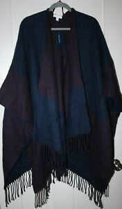 Charter Club Women's Maroon & Navy Reversible Plaid ColorBlocked Scarf Shawl