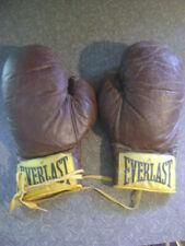 VINTAGE 1960s EVERLAST Boxing Sparring Glove Set of 2 (4) Gloves Brown Leather