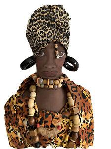 "Handmade Aftrican Doll Folk Art 17"" x 8"" Beads Black 7376"