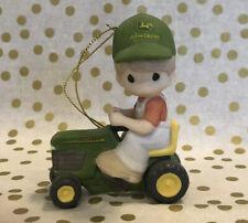 New ListingRare Precious Moments Ornament Boy John Deere Tractor Cruising Through Holidays