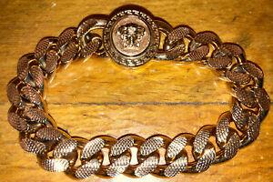 """$575 Authentic NWT Versace Gold Tone Medusa Tribute Men Chain 8"""" Bracelet"""