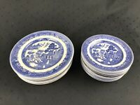 Vintage JOHNSON BROTHERS Willow Blue Set of 11 Saucers + 7 Salad Plates