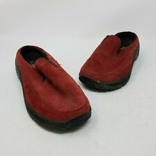 LL Bean Slip On Suede Mules Mocs Mocsasins Comfort Shoes Womens 5.5 Red Slides