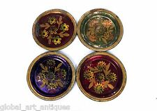 Lot Of 4 Beautiful Decorative Vintage Hand Painted Iron Metal Plates. G41-22 US