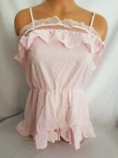 Victoria Secret Sleepwear Pajama Pink Romper Ruffle Trim NWT Small Wedding