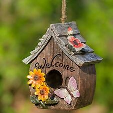 Butterfly Flowers Welcome Decorative Hand-Painted Garden Bird House with Chord