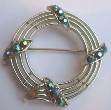 broche bijou vintage couleur or pale rosace pierres cristal boréalis bleu 2363