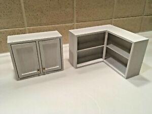 Dollhouse Miniature Handmade 2 White Wooden Kitchen Wall Cabinets Shelves 1:12